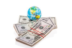 Globe on american dollars Stock Image