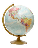 Globe on the Americas. An isolated globe positioned to the North and South Americas royalty free stock image
