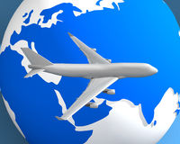 Globe And Plane 003 Royalty Free Stock Photography