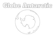 Globe Antarctic view. Hand-drawn globe of the world with view over the Antarctic isolated on white Royalty Free Stock Images