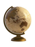 Globe antique sur le blanc Photographie stock