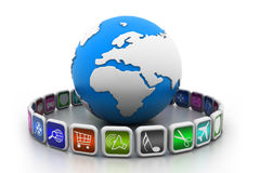 Globe with app symbols. 3d illustration of globe with app symbols Royalty Free Stock Photo