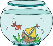 Globe aquarium with red fish and boat. Scalable vectorial image representing a globe aquarium with red fish and boat, isolated on white Stock Photo