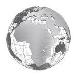 Globe argenté de la planète 3D de la terre d'isolement Image stock