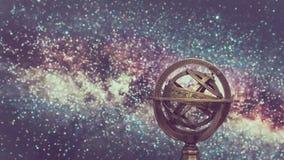 Globe armillaire en laiton de signe de zodiaque image stock