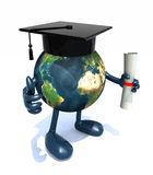 Globe with arms and legs, Graduation Cap and Diploma Stock Photography