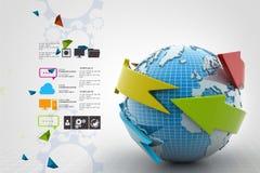 Globe around with arrow Stock Image