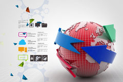 Globe around with arrow Royalty Free Stock Photography