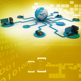 Globe around with laptop server  and computer Royalty Free Stock Photo