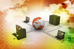 Globe around with laptop server  and computer Stock Image