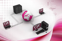 Globe around with laptop server  and computer Stock Photos