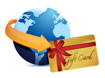Globe arrow and giftcard Stock Image