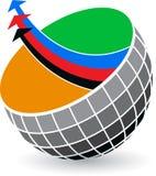 Globe arrow logo. Illustration art of a globe arrow logo with  background Royalty Free Stock Photos