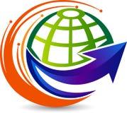 Globe arrow logo. Illustration art of a globe arrow logo with isolated background Stock Photo