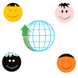Globe with arrow up and four different national faces. Globe with arrow up and four different national cartoon faces Stock Image