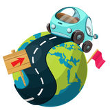 Globe and arrow. Vector illustration. stock illustration