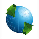 Globe with arrows. On white background Royalty Free Stock Image