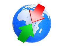 Globe and arrows. 3d rendered illustration of a globe and a red an a green arrow Royalty Free Stock Images