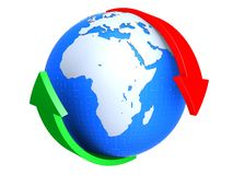 Globe and arrows. 3d rendered illustration of a globe and a red an a green arrow Royalty Free Stock Photos