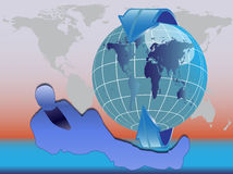 Globe and arrows. People men with Globe and arrows Royalty Free Stock Images