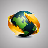 Globe with arrows Royalty Free Stock Photography