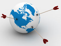 Globe and arrows. 3D image. Isolated illustrations Stock Photo