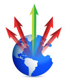 Globe and arrows illustration design Stock Image