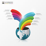 Globe with arrows. Infographic design template. Vector. Illustration Vector Illustration