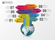 Globe with arrows. Infographic design template. Vector illustration Royalty Free Stock Photos