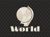 Globe art deco seamless pattern on background. Statuette in retro style. Stock Photo