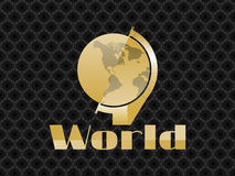Globe in the art deco style of gold color on the background seamless pattern.  Stock Photo