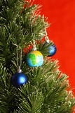 Globe as christmas ornament Stock Photography