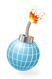 Globe as ignited bomb Stock Photos