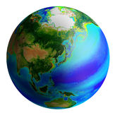 Globe, asia. Raster image of earth from asia side Stock Image