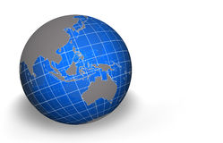 Globe, Asia. Semi transparent globe with grid - Asia and Australasia view Stock Images