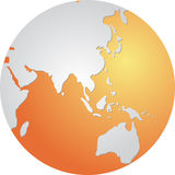 Globe Asia. Globe map illustration of the Asia Pacific Royalty Free Stock Photography