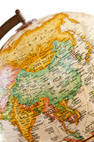 Globe - Asia. Part of a globe with map of Asia stock photos