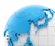 Globe of Asia with national borders Royalty Free Stock Photo