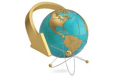 Globe and atom. 3D illustration. Globe and atom. 3D illustration stock illustration