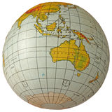 Globe Australia. The globe shows the continent of Australia, Indonesia and the southern parts of Asia. Latitude and longitude lines are clearly indicated Stock Image