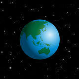 Globe Australia Asia Cosmic Space Stars. Globe with Australia, Asia, India, Russia, China, Japan, Indonesia, Indian Ocean and Pacific - planet earth in cosmic Stock Photography