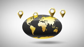 Globe autour dont geolocation d'or de marqueurs clips vidéos