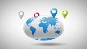 Globe autour dont geolocation multicolore de marqueurs banque de vidéos