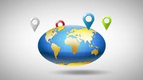 Globe autour dont geolocation multicolore de marqueurs clips vidéos