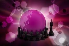 Globe avec des échecs noirs Photographie stock libre de droits