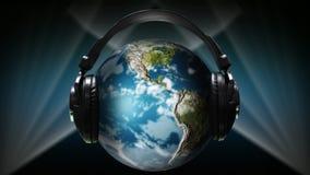 Globe avec des écouteurs là-dessus illustration de vecteur