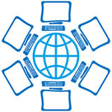 Globe avec des écrans Photos libres de droits
