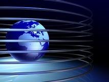 Globe avec des anneaux image libre de droits