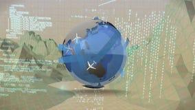 Globe avec des avions tout en se déplaçant par des graphiques de paysage illustration de vecteur