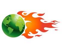 Globe avec des flammes Images libres de droits
